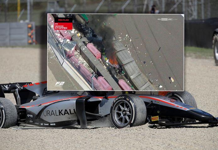 Inzet: de crash van Luca Ghiotto en Luke Aitken.