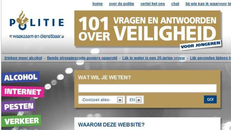Screenshot van de website vraaghetdepolitie Beeld null