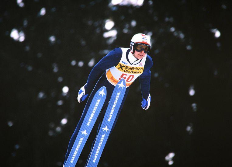 Matti Nykaenen in actie tijdens het WK van 1985. Beeld BSR Agency