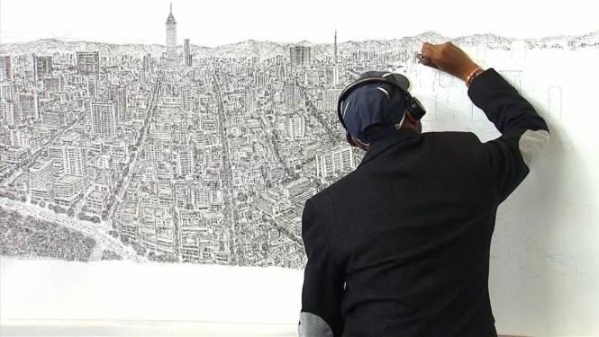 Artiest met autisme ziet stad 1 keer en tekent perfect na