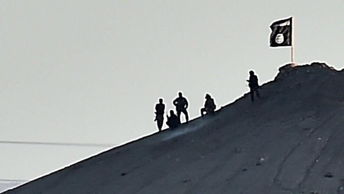 Militants de l'EI sur une colline de la frontière syrienne (archives)