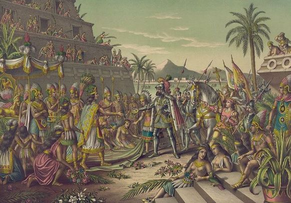 De eerste ontmoeting tussen de Spaanse overheerser Hernan Cortez en de Azteekse leider Moctezuma.