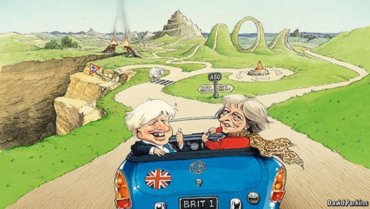 Cartoon bij The Road to Brexit, linksaf de harde Brexit, rechts af 'soft Brexit' Beeld The Economist