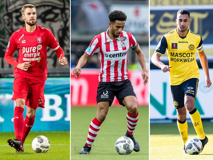 De aanvoerders van de drie voornaamste degradatiekandidaten, vlnr Stefan Thesker (FC Twente), Ryan Sanusi (Sparta) en Adil Auassar (Roda JC).