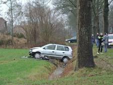 Auto belandt in greppel na botsing met boom