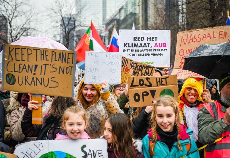 De klimaatmars  in Brussel afgelopen zondag.