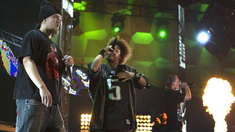 De Groningse hiphopformatie Dope D.O.D. bij de aftrap van Eurosonic. Beeld ANP
