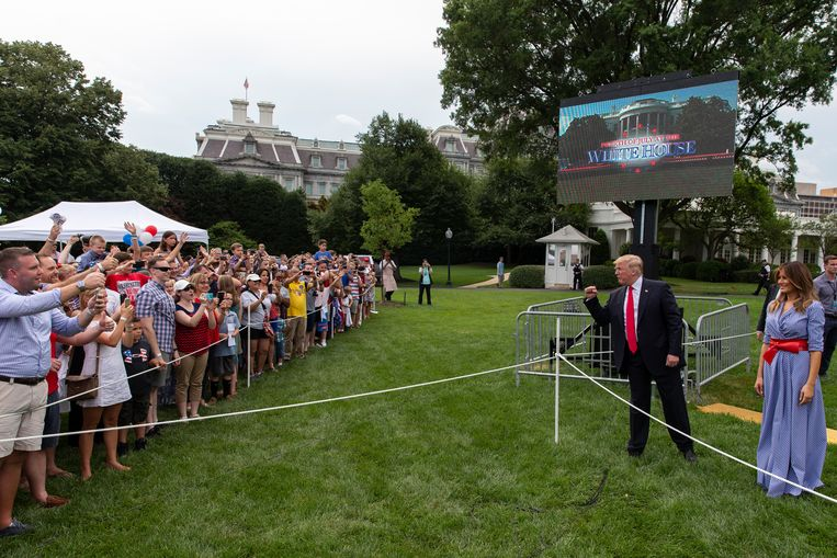 Fourth of July-viering in 2018 met president Donald Trump en first lady Melania Trump.  Beeld Getty Images