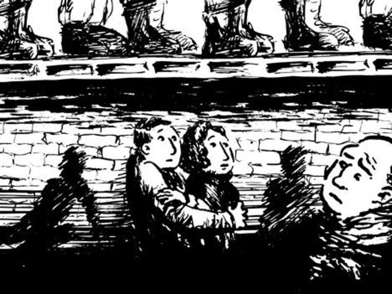 De verhalen van de onderduikers in 'Andere Achterhuizen' worden geïllustreerd met tekeningen van Marcel van der Drift die op de site bewegen. Deze is van een huiszoeking. Beeld