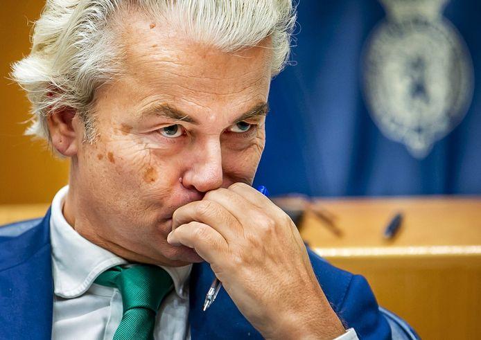 Geert Wilders (PVV) tijdens het wekelijks vragenuur in de Tweede Kamer.