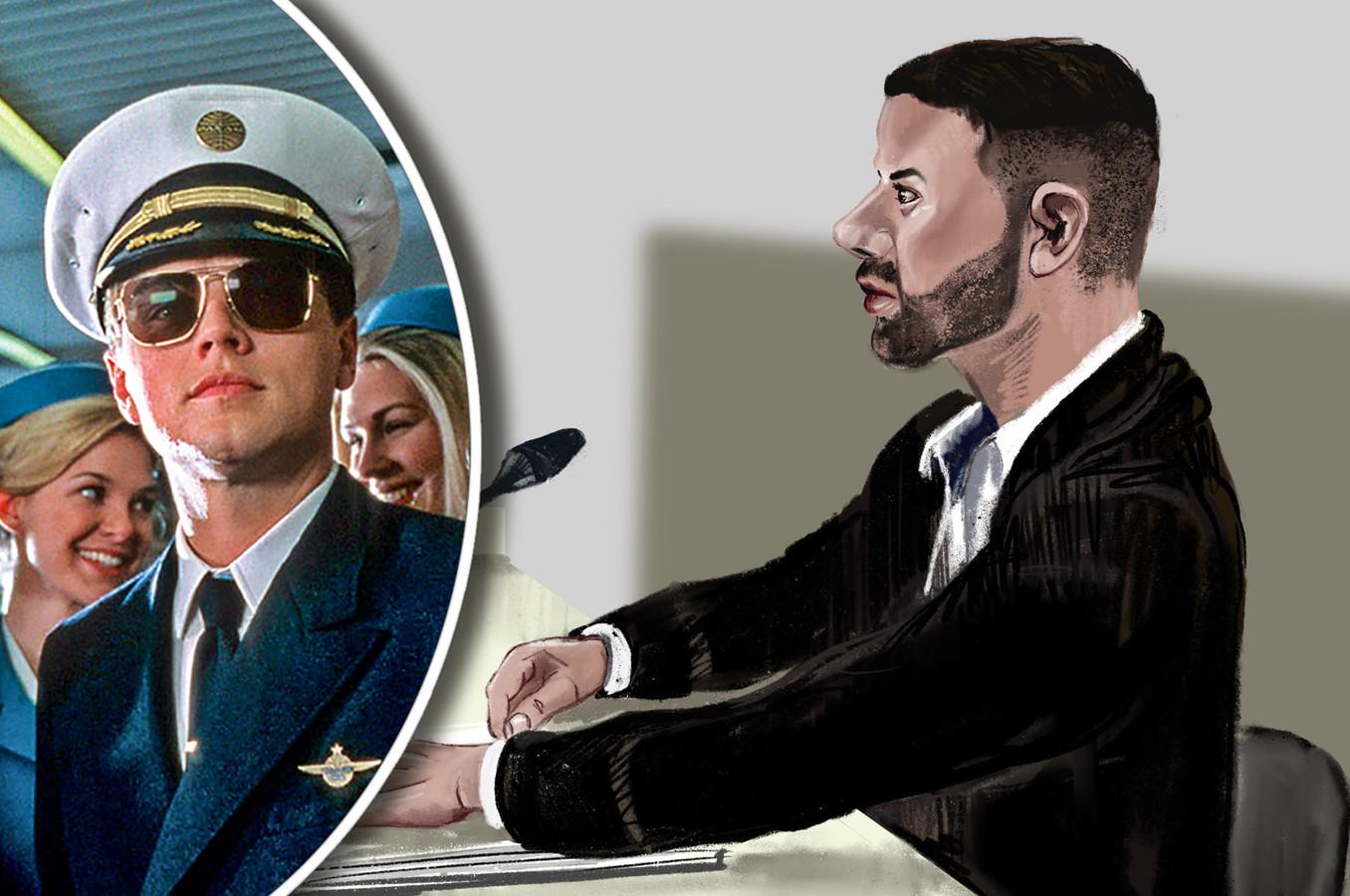 Przemyslaw N. in de rechtbank. Links Leonardo DiCaprio in zijn rol als meesteroplichter in de film Catch Me If You Can.