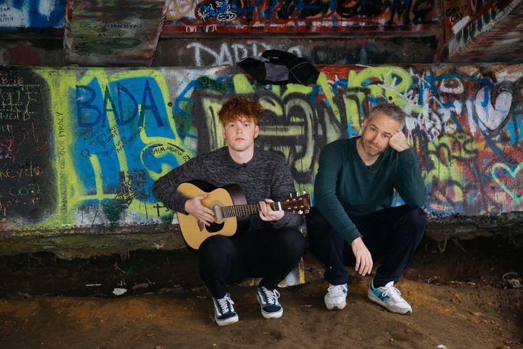 Stijn Van de Voorde en Thibault Christiaensen aan het Kurt Cobain Memorial Park