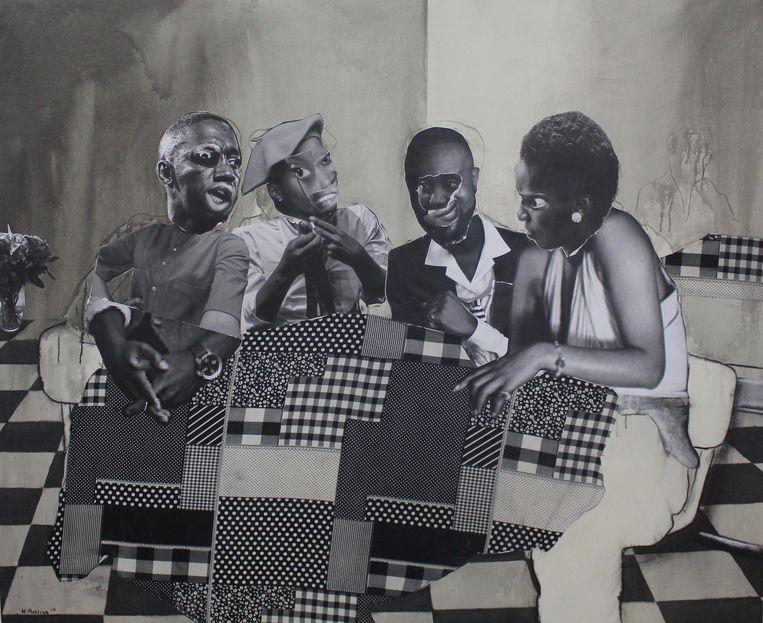 Neo Matloga, Nka nako go motseba, 2019, collage, houtskool en inkt op canvas, 165 cm x 200 cm Beeld Courtesy Neo Image Matloga