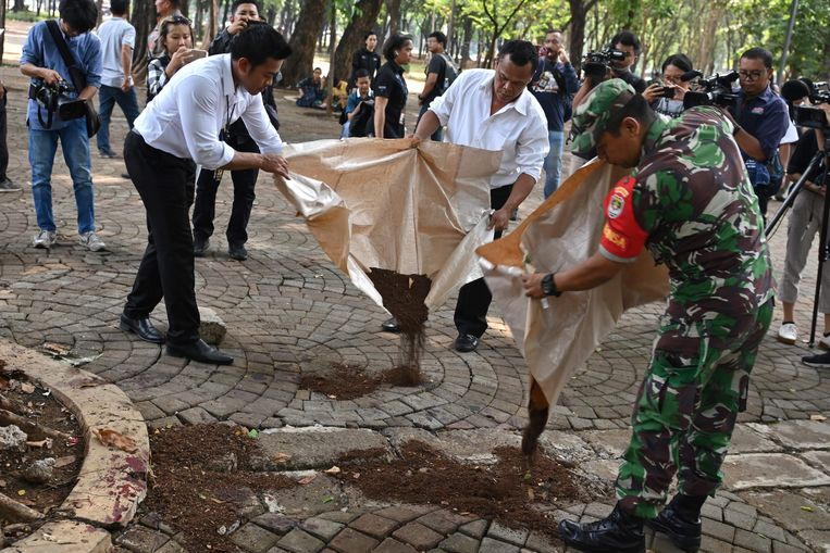De politie strooit zand op de plekken waar bloedvlekken op de grond liggen.