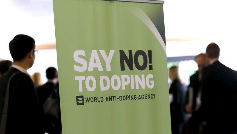 Een banner bij de WADA, het wereldantidopingagentschap. Beeld reuters