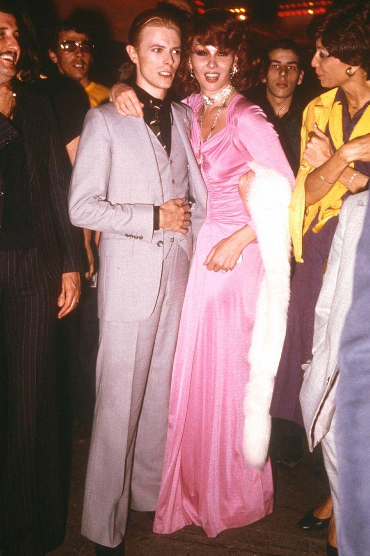David Bowie en Romy Haag bij nachtclub Studio 54. Beeld Rex