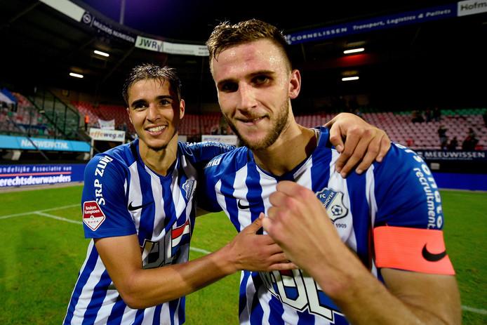 Branco van den Boomen was met twee doelpunten de gevierde man bij FC Eindhoven. Links: Samy Bourard.
