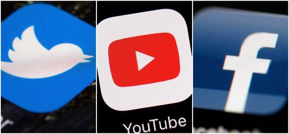 De logo's van Twitter, YouTube en Facebook.