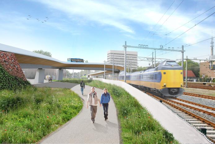 De busbrug over het spoor in Zwolle, achterin het gebouw van CityPost. (Het wandelpad is overigens fictief, in werkelijkheid worden nooit wandelpaden zo dicht bij het spoor aangelegd).