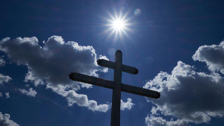 Een kruis op de rampplek van MH17. Beeld anp