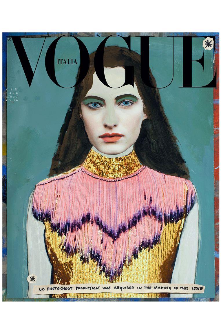 Vogue Italia-cover van de januari-editie zonder fotografie Beeld