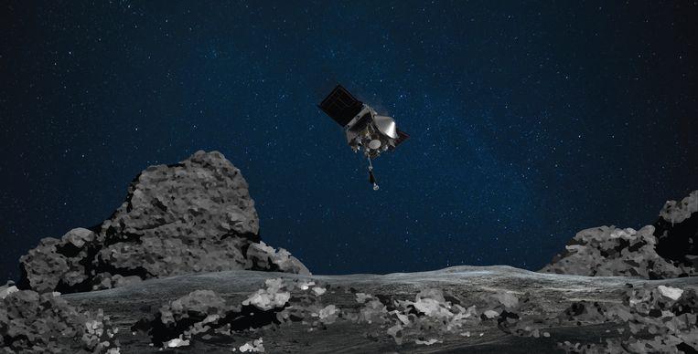 De OSIRIS-REx bij de asteroïde Bennu, hier weergegeven op een impressie van de NASA.  Beeld nasa