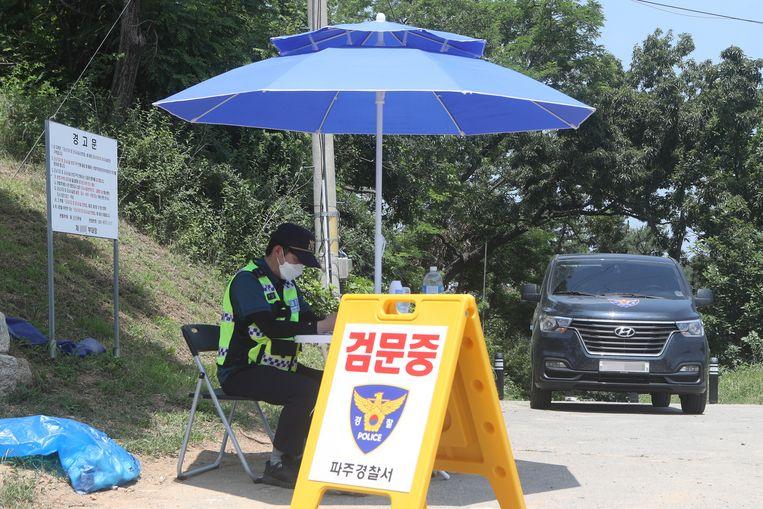 Grenstroepen in Zuid-Korea. Beeld EPA