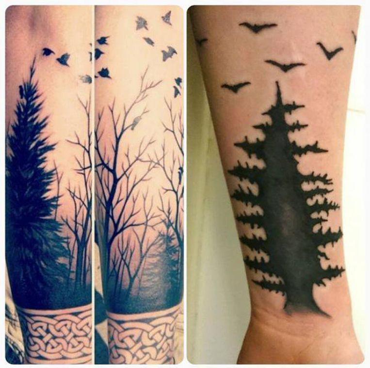 """""""Ik had een levendig tafereel gekozen van een zwerm vogels boven een bos. Maar nu zit ik met onnozele meeuwen en een verlepte spar op mijn arm""""."""