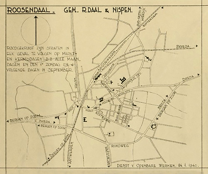 Archieffoto's Kermis in Roosendaal, kaart van omleidingen voor kermis Roosendaal in 1940.
