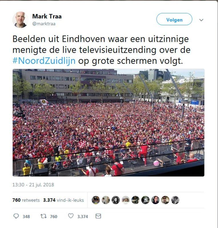 De tweet van Mark Traa over opening Noord-Zuidlijn. Beeld Mark Traa