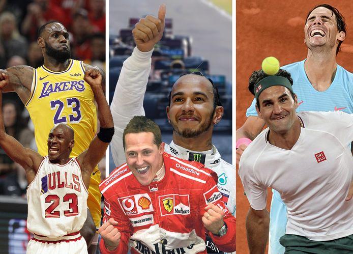 LeBron James, Michael Jordan, Michael Schumacher, Lewis Hamilton, Roger Federer en Rafael Nadal.