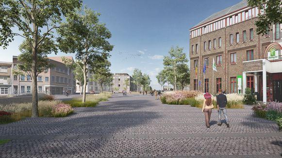De kant van het Molenpoortplein wordt met dezelfde materialen afgewerkt als het plein tegen Quartier Bleu.