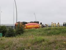Betonwagen gekanteld op N2 bij Eindhoven, weg weer open