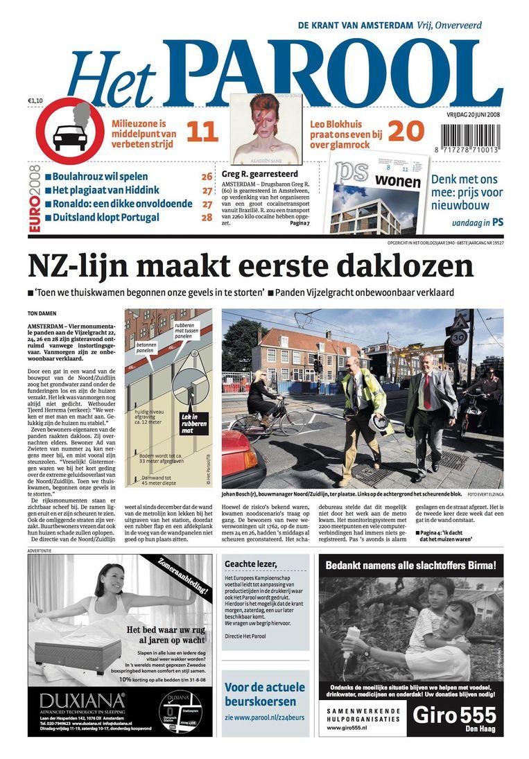 De voorpagina van Het Parool van 20 juni 2008 Beeld Het Parool