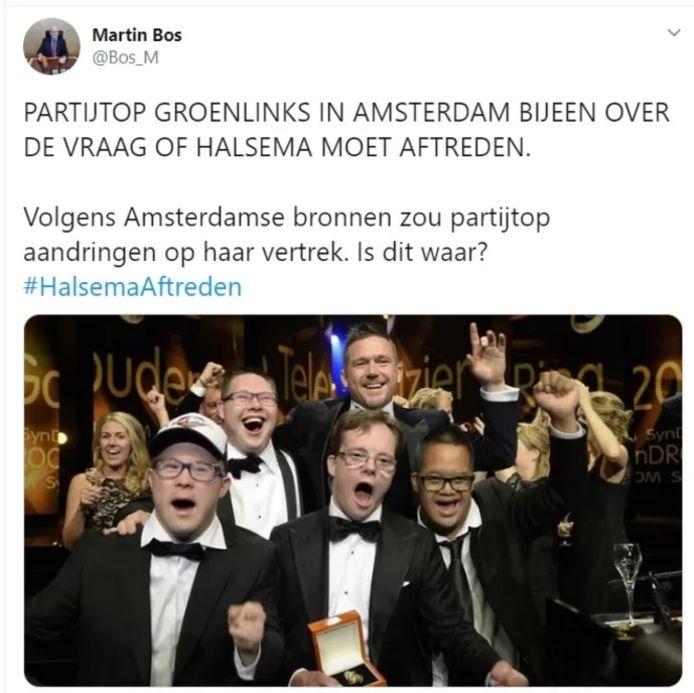 De gewraakte tweet van Martin Bos.