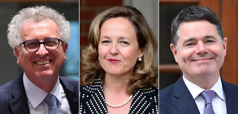 De drie kandidaten voor het voorzitterschap van de eurogroep. Van links naar rechts de Luxemburger Pierre Gramegna, de Spaanse Nadia Calviño en de Ier Paschal Donohoe.