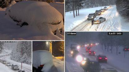 """Verkeer staat """"muur- en muurvast"""" tussen Oostenrijk  en Duitsland, ook vandaag nog pakken sneeuw verwacht, wintersporters aangeraden pas morgen terug te keren"""