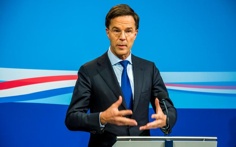 Premier Mark Rutte tijdens de persconferentie na de wekelijkse ministerraad. Beeld null