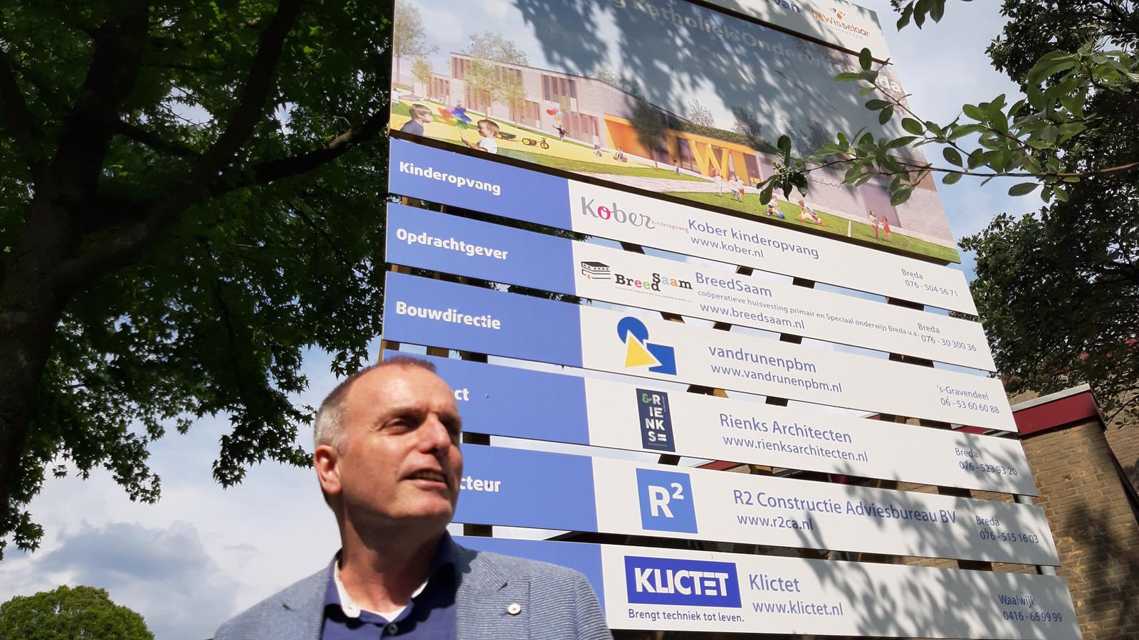 Schooldirecteur Eric Gladdines van De Wisselaar in Breda-Noord bij het bouwbord dat de komst van het nieuwe pand aankondigde.