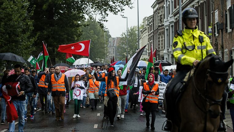 Deelnemers aan de pro-Palestina-demonstratie door het centrum. In totaal liepen een paar honderd mensen mee met de vredesmars. Beeld anp