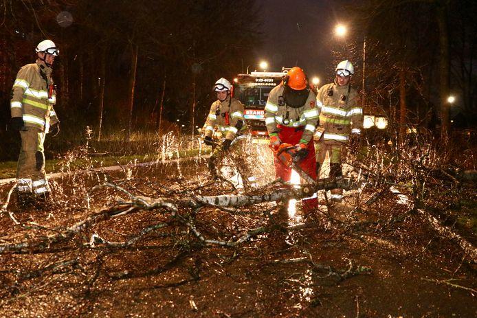 De brandweer kwam zondag rond 18:00 uur in actie voor een omgewaaide boom op de Espelerlaan in Emmeloord.