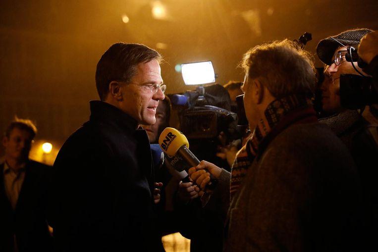 Mark Rutte staat de pers te woord na de gesprekken met kandidaat ministers. Beeld anp