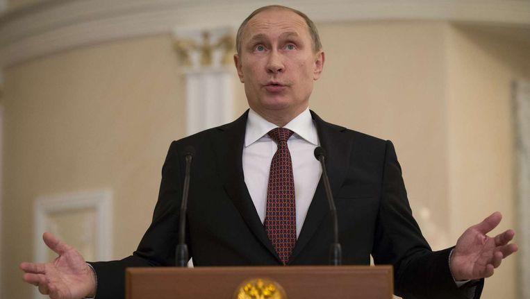 De Russische president Poetin na afloop van de gesprekken.