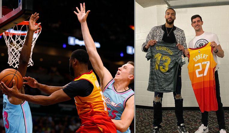 Courtois woonde de match tussen Miami Heat en Utah Jazz bij.