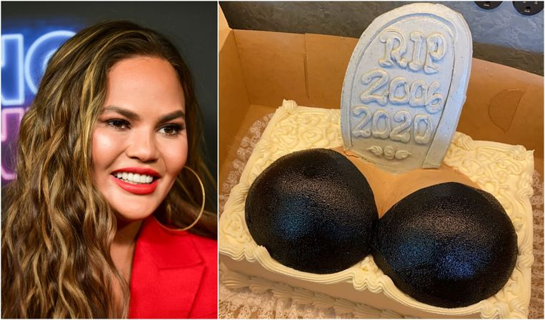 Chrissy Teigen liet haar borstimplantaten verwijderen en vierde dat met een taart.