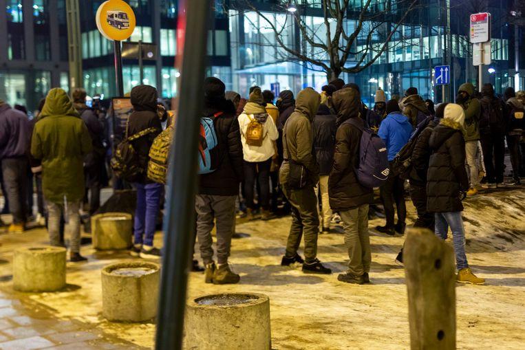 Asielzoekers in het Maximiliaanpark in Brussel in januari vorig jaar.