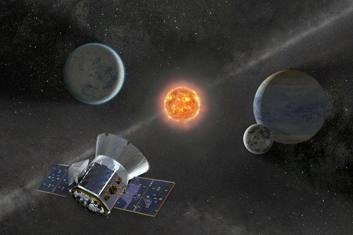 Een artistieke impressie van de TESS-telescoop die in de ruimte op zoek is naar nieuwe exoplaneten.