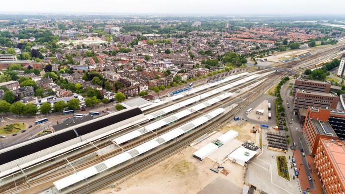 Het spoorweg-emplacement in Zwolle.