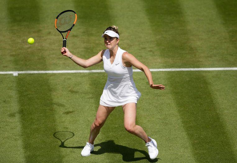 Elina Svitolina, gisteren in actie op Wimbledon.