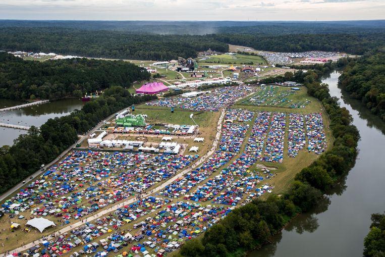Een luchtbeeld van de DreamVille-camping in Chattahoochee Hills.